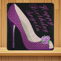 Handmade purple high heel shoe personalised card, embroidered design