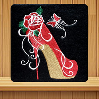 Handmade red high heeled shoe embroidered design card