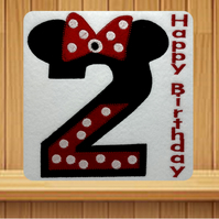 Age 2 Minnie Design Embroidered Card