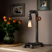 Steampunk Handmade in UK Pipe Table Lamp Industrial Light