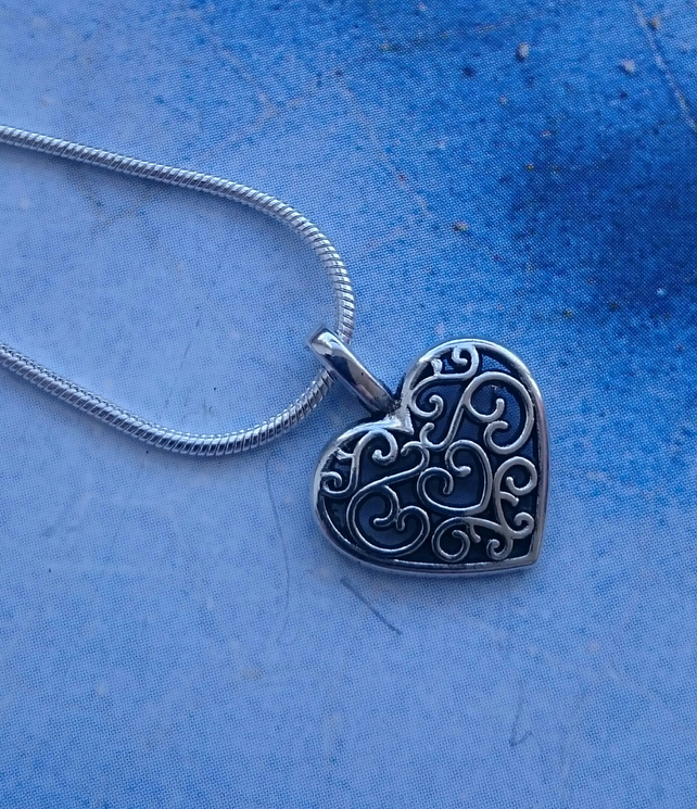 Filigree Heart Charm on a Sterling Silver Chain