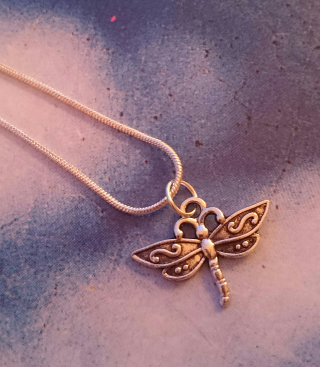 Dragonfly Charm on a Sterling Silver Chain