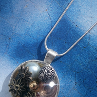 Beautiful Bejewelled Round Pendant with a Sterling Silver Chain