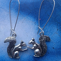 Squirrel Charm Dangly Earrings