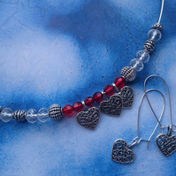 Sterling Silver Wire Beaded Necklace Gift Set
