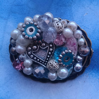 Bejewelled Larger Vintage Style brooch with a Tibetan Silver Decorative Heart
