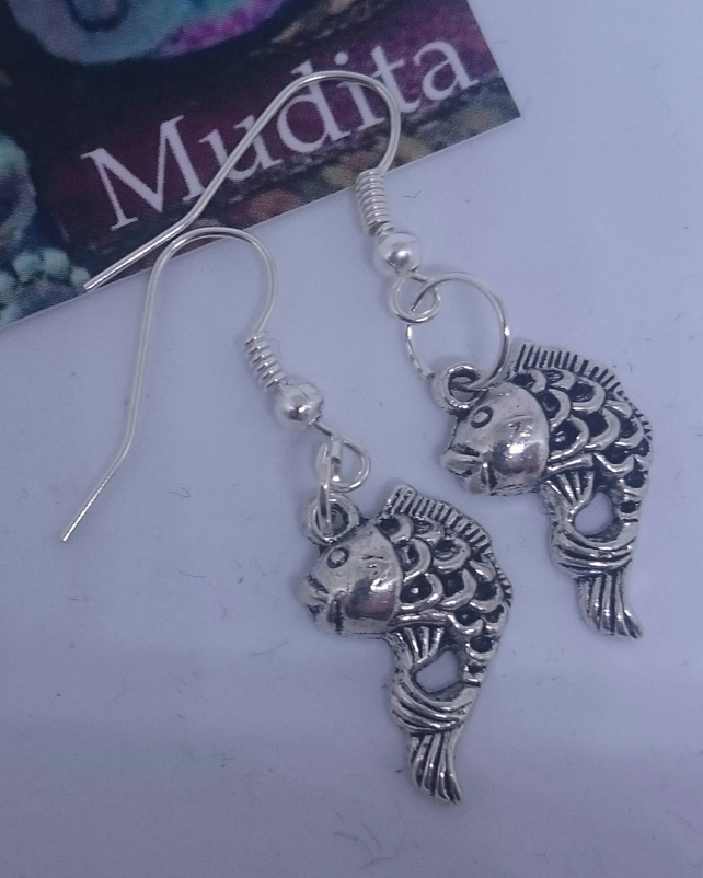 Dangly Sterling Silver Fish Earrings