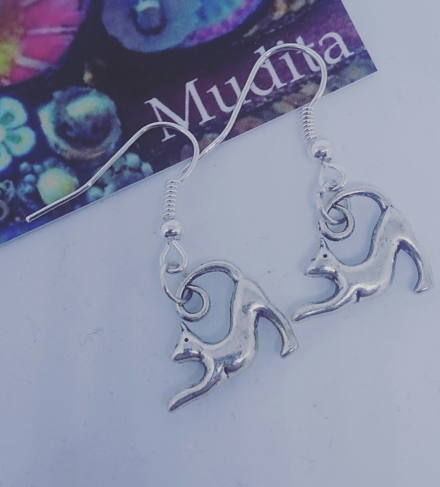 Dangly Sterling Silver Stretching Cat Charm Earrings