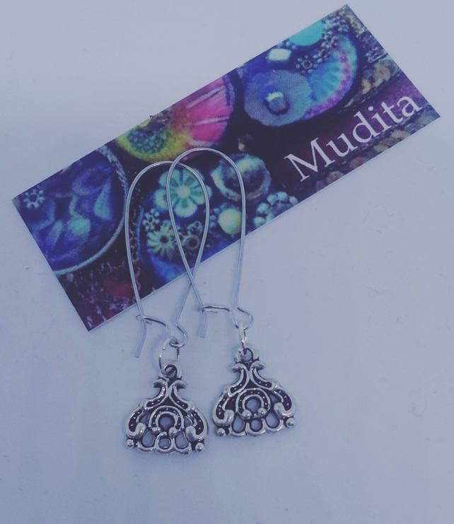 Dangly Sterling Silver Traditional Tibetan Charm Earrings