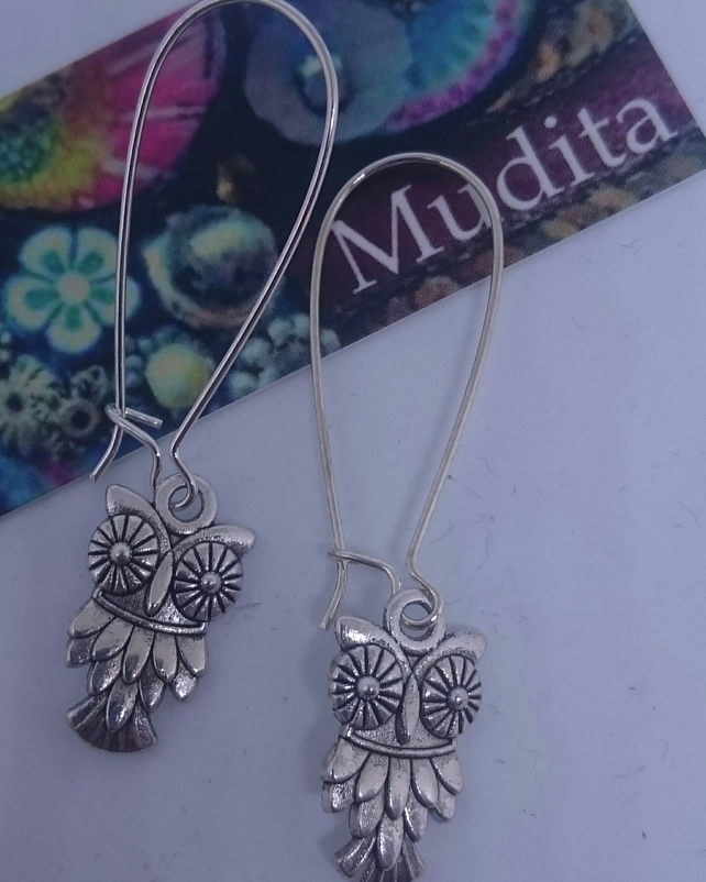 Dangly Sterling Silver Owl Charm Earrings