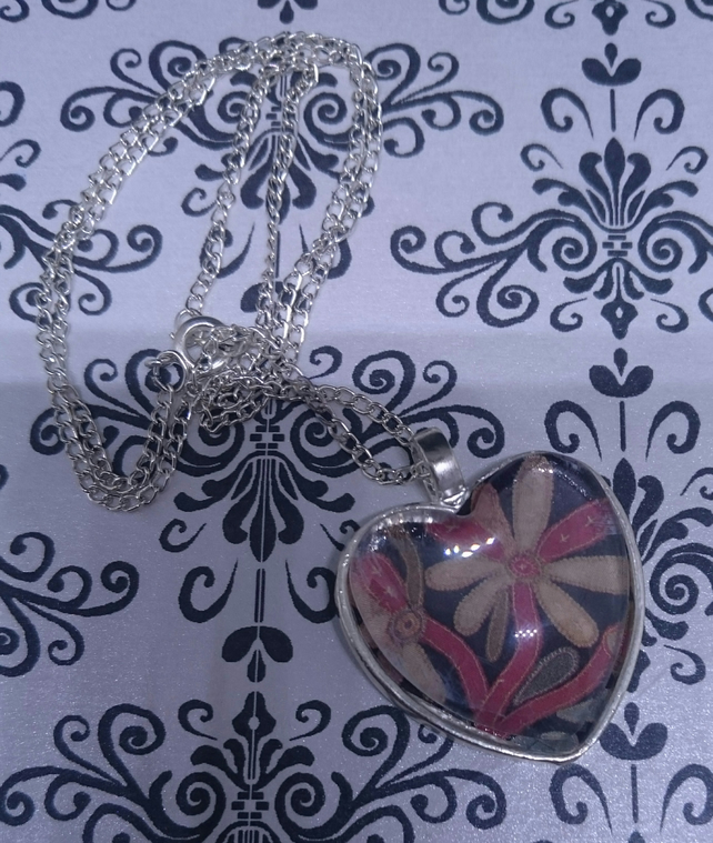 Antique American Quilt Heart Pendants