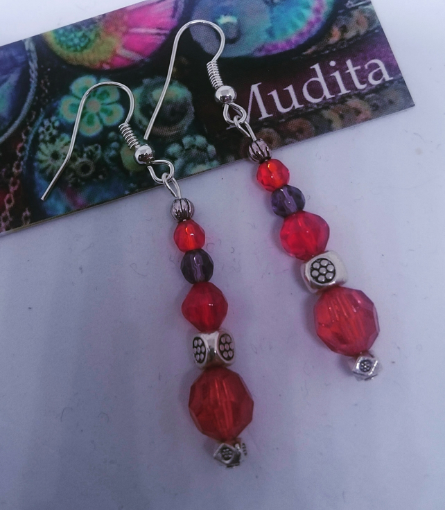 Dangly Sterling Silver Earrings with Red Crystal Beads
