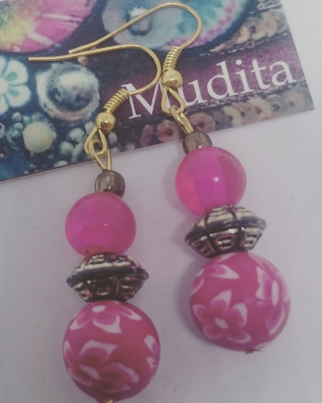 Dangly Sterling Silver Earrings with Pink Glass and Polymer Clay Beads
