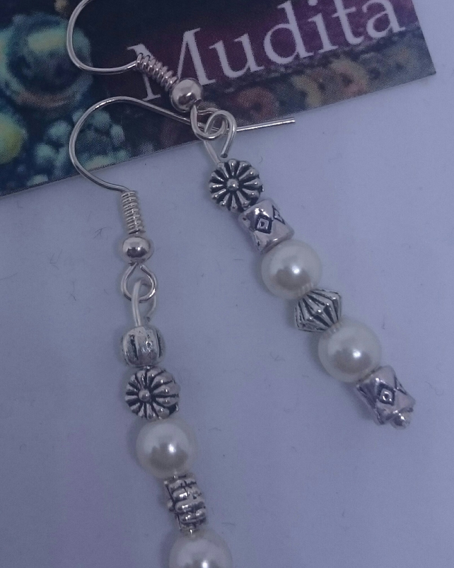 Dangly Sterling Silver Earrings with Siver Flower and Pearl Beads