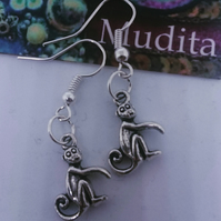 Dangly Sterling Silver Earrings Tibetan Silver Monkeys