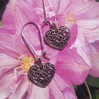Filigree Heart Sterling Silver Earrings