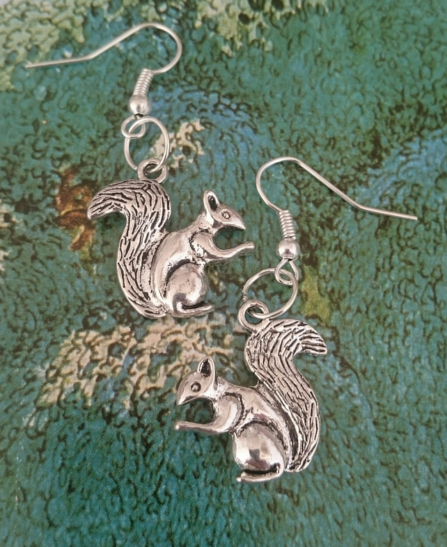 Dangly Sterling Silver Squirrel Earrings