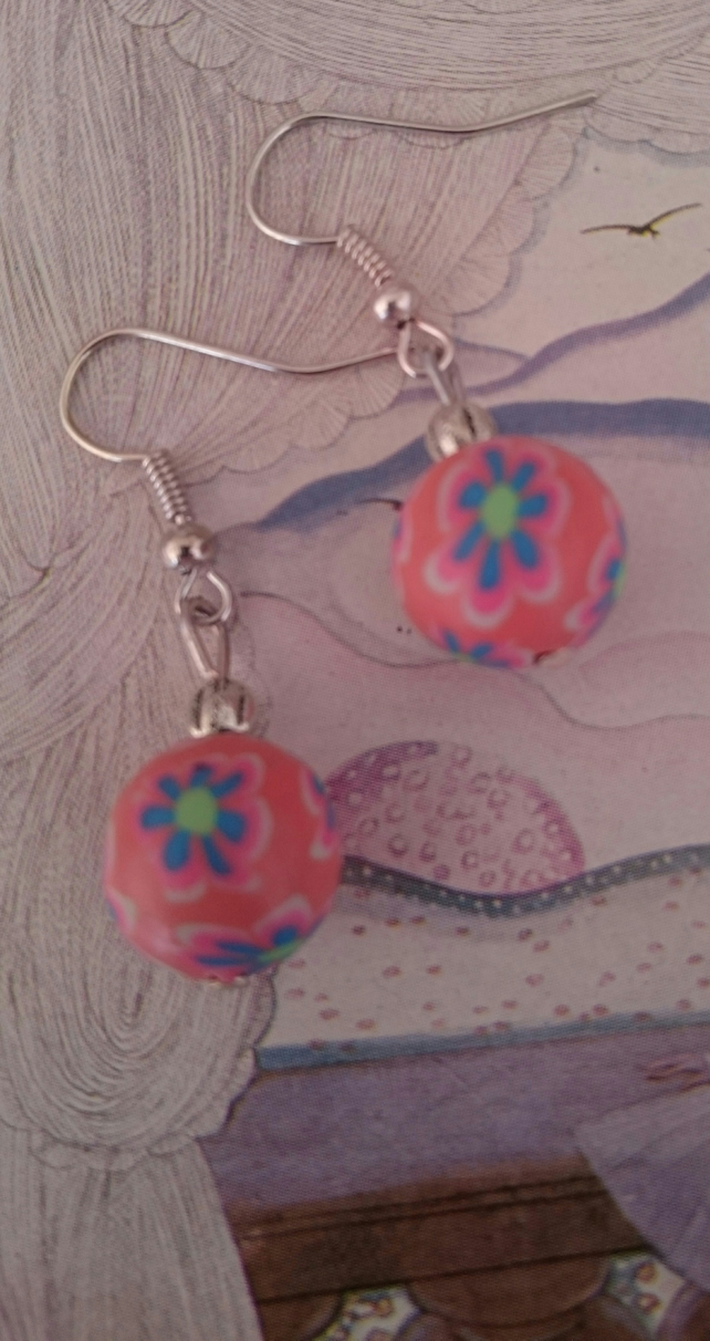 Dangly Sterling Silver Earrings with Pink Polymer Clay Beads