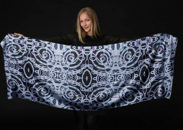 Luxurious Custom Printed Scarf - Original Design-Flowers and Spirals