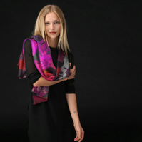 Luxurious Custom Printed Scarf - Original Design-Fuschia Bubbles