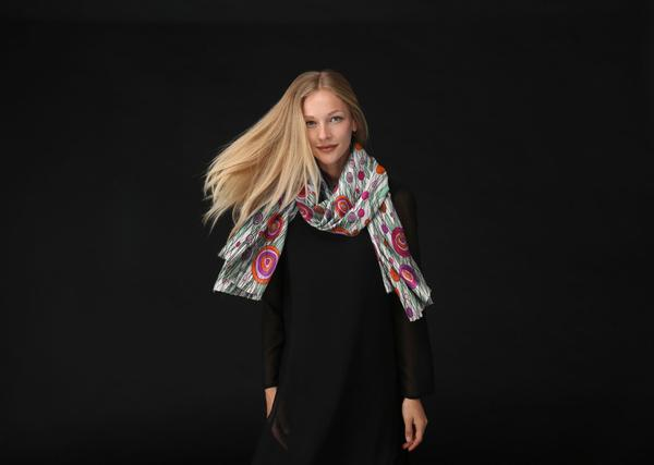 Luxurious Custom Printed Scarf - Original Design-Flowers in The Long Grass