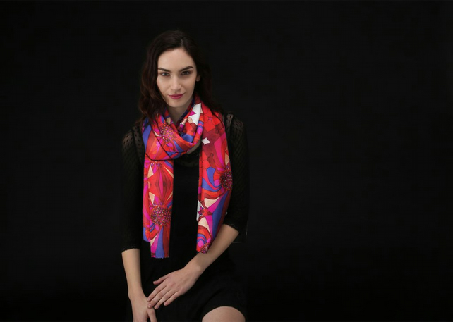 Luxurious Custom Printed Scarf - Original Design- Vivid