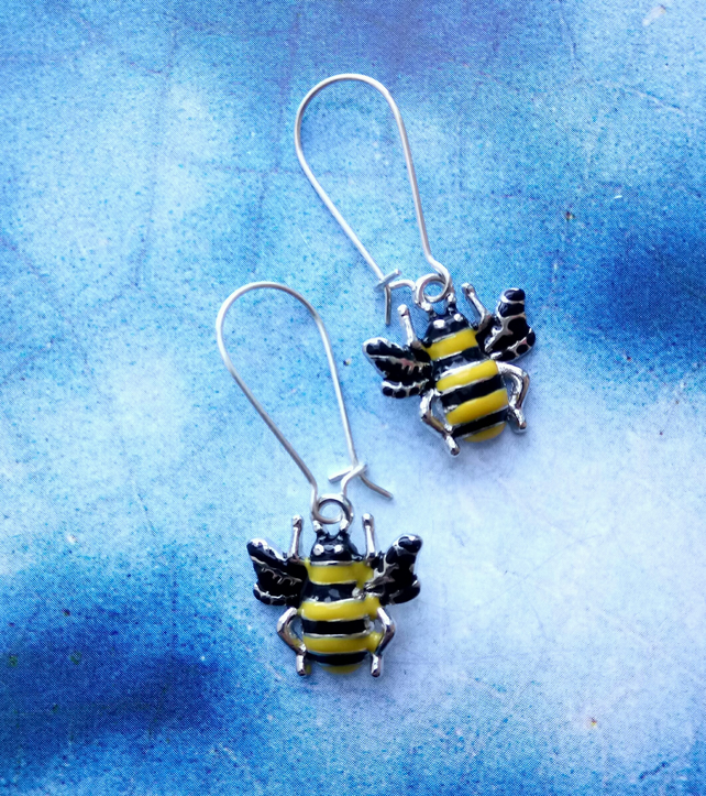 Beautiful Bee Charm Hoop and Hook Style Sterling Silver Earrings