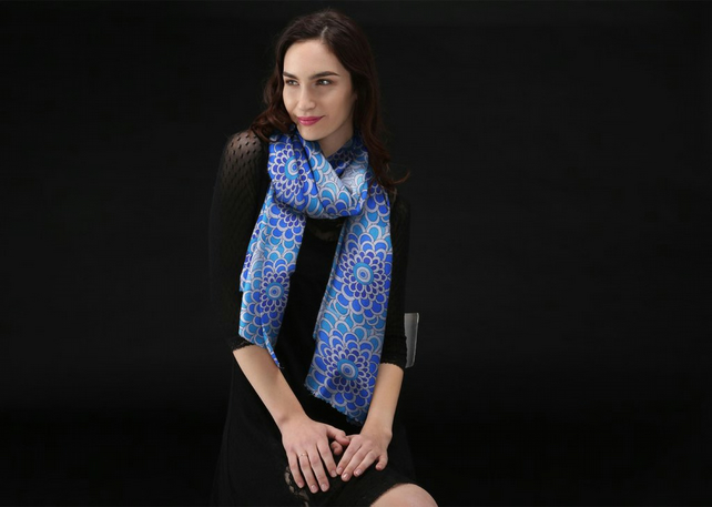 Lovely Scarf Designed in Bristol by Rebecca Davies - Blue Blast