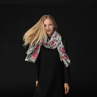 Lovely Scarf Designed in Bristol by Rebecca Davies - Flowers in the Long Grass