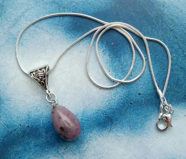 Beautiful Sterling Silver Necklace with Purple Jasper Stone Pendant