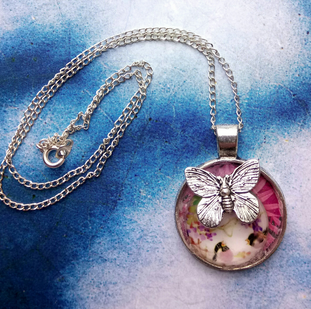 Japanese Decorative Pendant with Silver Butterfly Charm