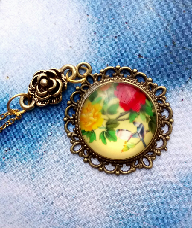 Japanese Decorative Pendant with Golden Flower Detail. .