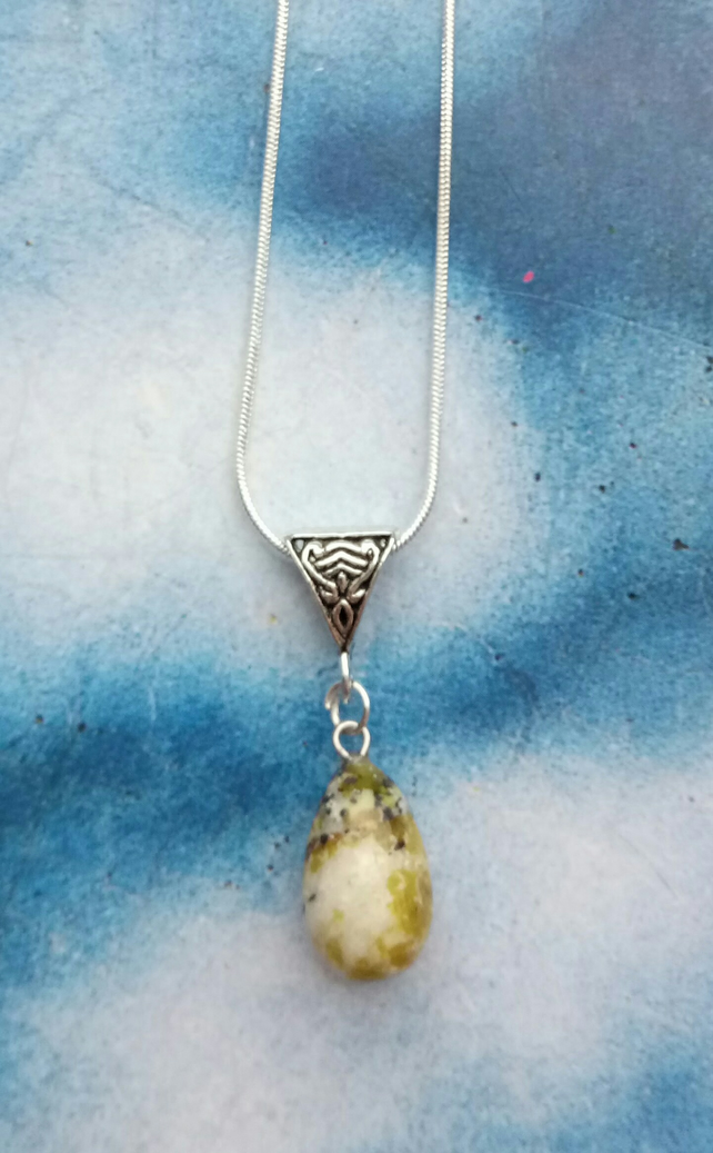 Beautiful Sterling Silver Necklace with Turtle Ponderosa Stone Pendant