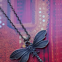 Gorgeous Ornate Dragonfly on an Antique Gold Necklace