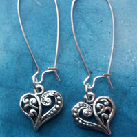 Gorgeous Filigree Heart Charms on Sterling Silver Earrings