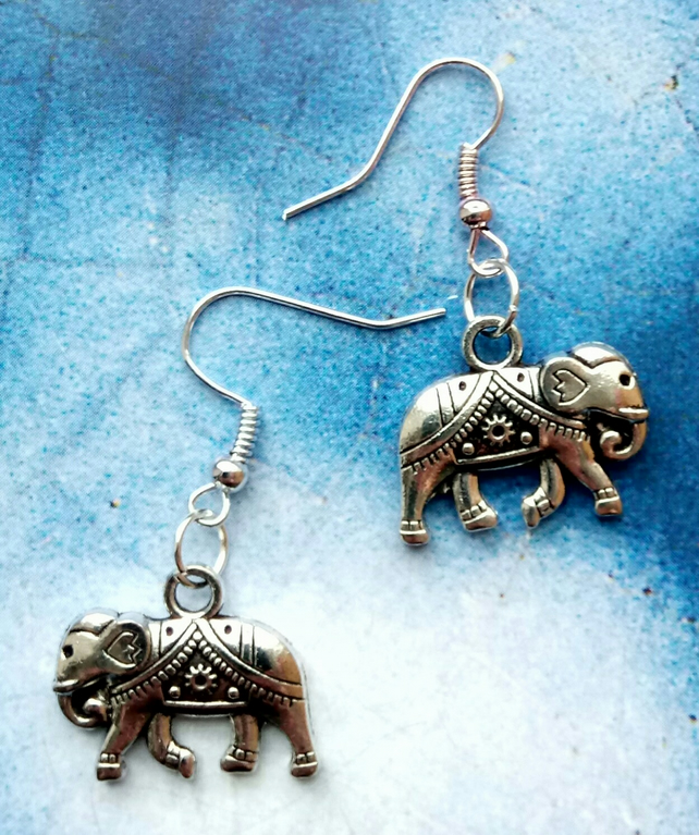 Never Forget. Silver Elephant Earrings