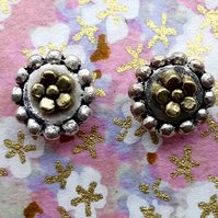 Little Stud Earrings with Tibetan Silver and Tiny Golden Flowers
