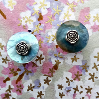 Lovely Pale Blue Shell Stud Earrings with Tibetan Silver Roses