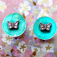 Turquoise Shell Stud Earrings with Tibetan Silver Butterflies