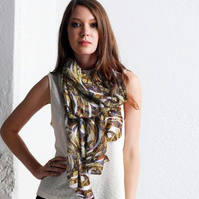 Luxurious Custom Printed Scarf - Original Design-Gold and Bronze Spirals