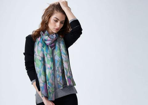 Luxurious Custom Printed Scarf - Original Design- Curving