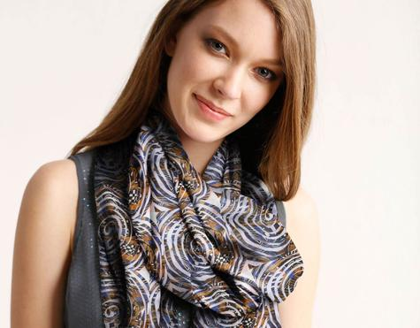 Luxurious Custom Printed Scarf - Original Design- Eastern Spirals