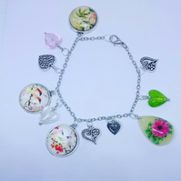 Glass Cabochon Charm Bracelet with Hearts and Flowers