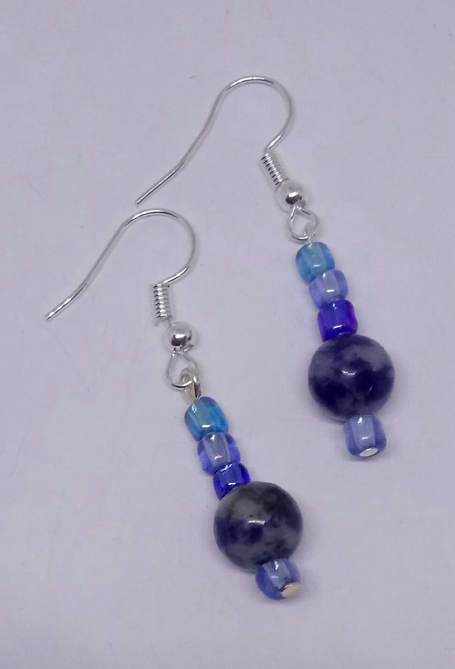 Handmade Beaded Dangly Earrings with Sterling Silver Hooks.