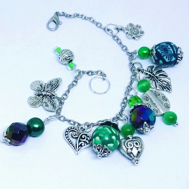 Gorgeous Greens Beaded Charm Bracelet