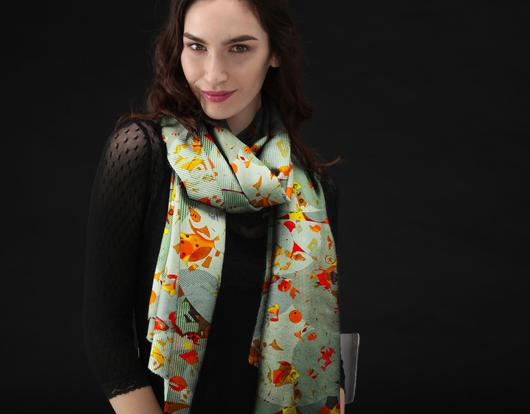 Luxurious Custom Printed Scarf - Original Design-Fox