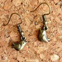 Antique Gold Style Tiny Bird Earrings