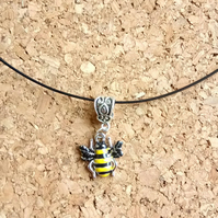 Enamel Bee on a Wire Necklace