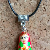 Hand Painted Wooden Russian Dolly Charm on Leather Necklace