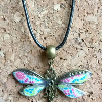 Antique Gold Decorated Dragonfly  on a Leather Necklace